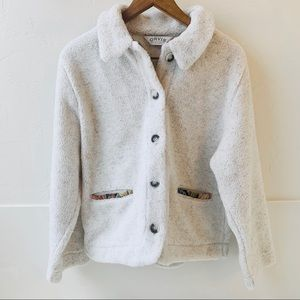 Orvis fleece jacket button down with embroidery M